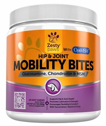 Zesty Paws Mobility Bites Hip & Joint Support Chews with Glucosamine, Chondroitin & MSM for Dogs