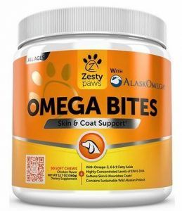 Zesty Paws Omega Bites Skin & Coat Support Chews with Omega 3, 6, & 9 for Dogs