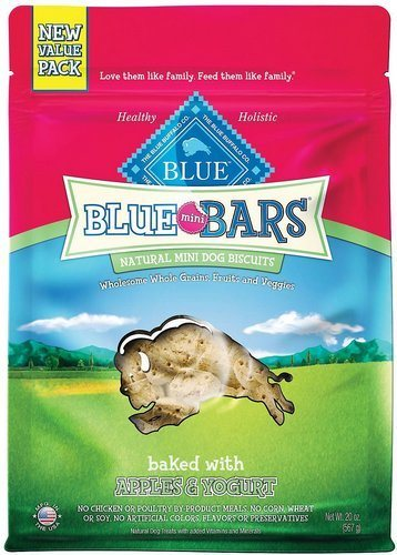 Blue Buffalo Blue Mini Bars Value Size Apples & Yogurt Natural Biscuits Dog Treats