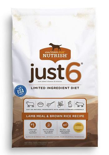 Rachael Ray Nutrish Just 6 Natural Dry Dog Food, Limited Ingredient, Lamb Meal & Rice