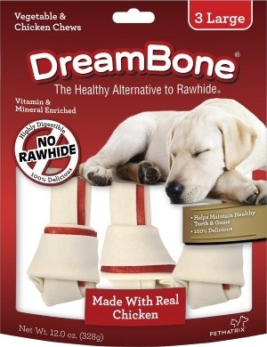 DreamBone Large Chicken Chew Bones Dog Treats, 3 count