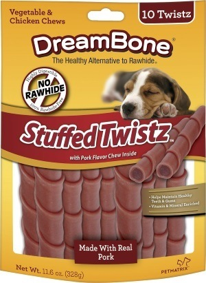 DreamBone Stuffed Twistz Pork Chews Dog Treats