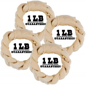 Balls 'n Bones Big Dog One-Pound Braided Rawhide Rings for Large Dogs
