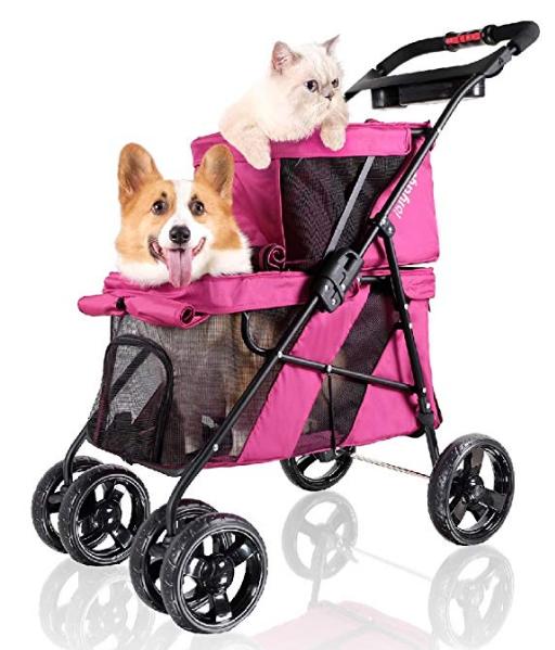 ibiyaya 4 Wheel Double Pet Stroller