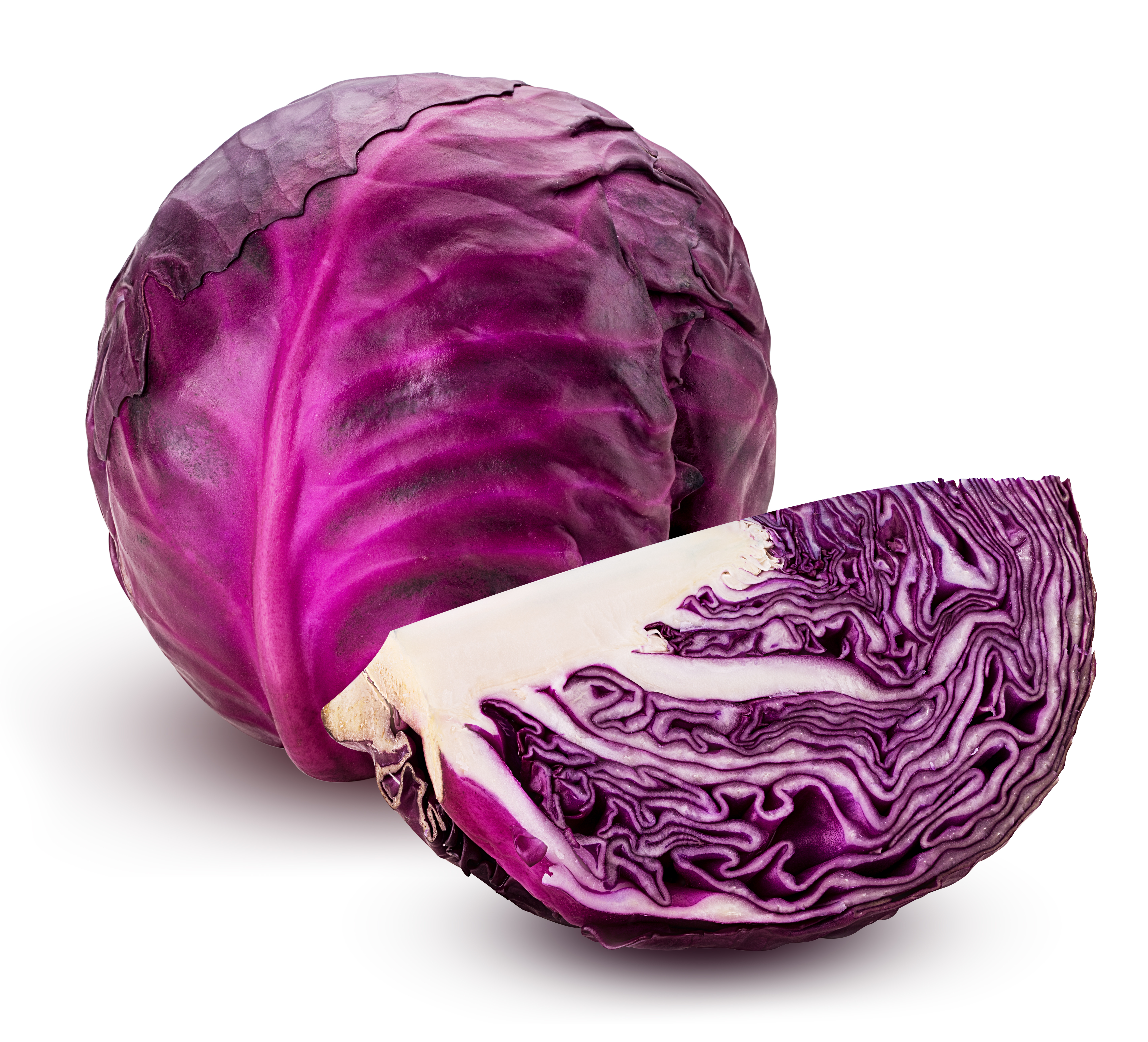 Red cabbage one slice isolated on white background