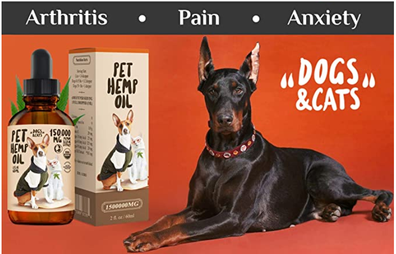 Hemp Oil Dogs Cats - 150 000 MG - Anti-Anxiety, Arthritis, Seizures, Pain Relief