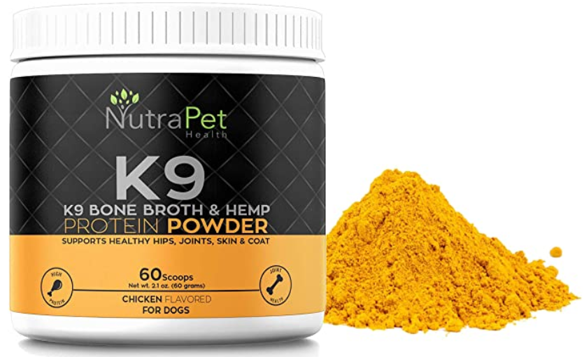 K9 Bone Broth Powder Concentrate Organic Turmeric Hemp Protein