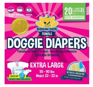 Bodhi Dog Disposable Dog Female Diapers | 20 Premium Quality Adjustable Pet Wraps with Moisture Control & Wetness Indicator