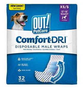 OUT! Disposable Male Dog Diapers | Absorbent Male Wraps with Leak Protection | Excitable Urination, Incontinence, or Male Marking