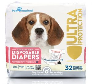 Paw Inspired 32ct Disposable Dog Diapers - Female Dog Diapers Ultra Protection