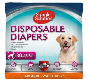 Simple Solution Disposable Dog Diapers for Female Dogs - Super Absorbent Leak-Proof Fit - Females In Heat, Excitable Urination, Incontinence, or Puppy Training